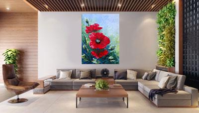 slike na platnu umetnicka dela crveni cvetovi mak