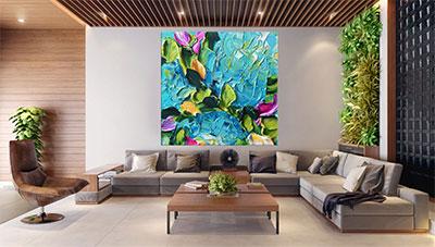 slike na platnu umetnika dela sareno plavo zeleno roze cvece