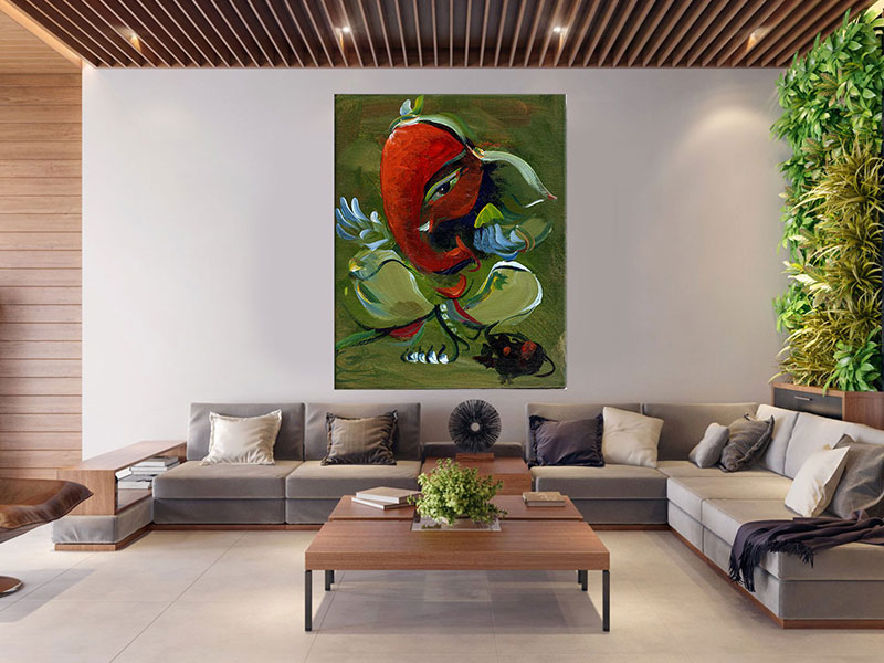 slike na platnu umetnicka dela crveni slon