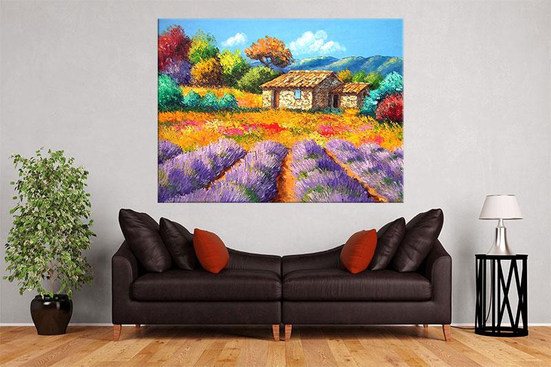 slike na platnu umetnicka dela kucica i ljubicasto cvece