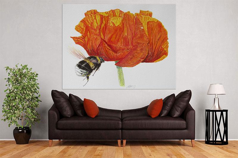 slike na platnu umetnicka dela crveni cvet i pcela