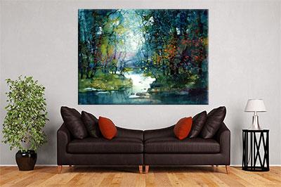 slike na platnu umetnicka dela jezero ulje na platnu