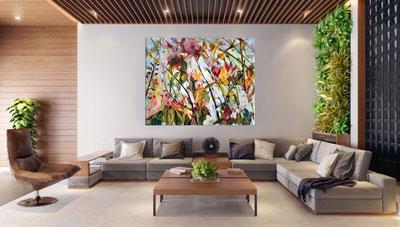 slike na platnu umetnicka dela cvece i lisce