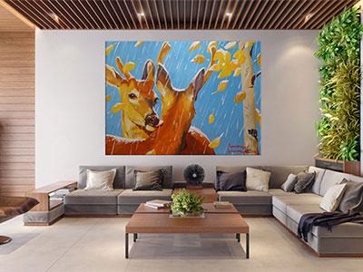 slike na platnu umetnicka dela jelen i kosuta